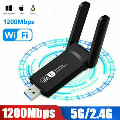 £8.39 • Buy 1200Mbps WiFi Dongle Wireless Adapter USB 3.0 Dual Band Antenna For Laptop PC