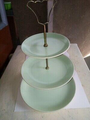£2.20 • Buy  3 Tier Cake Stand Art Deco With 3 Plain Green Plates And Gold Metal Fittings