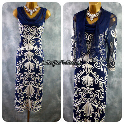 £89.99 • Buy ~ NIGHTINGALES ~ Navy & White Dress And Jacket Size 20 BNWT Mother Of The Bride