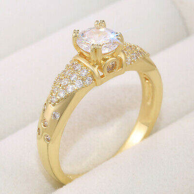 £2.88 • Buy Pretty Jewelry 18k Yellow Gold Plated Rings Cubic Zirconia Women Rings Size 6-10
