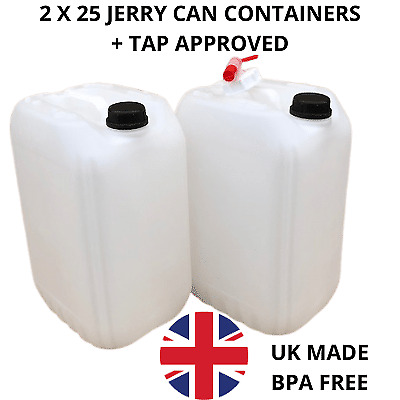 £19.99 • Buy  2 X 25 Litre Containers + 1 Tap Fully Approved Drinking Water Safe Food Grade
