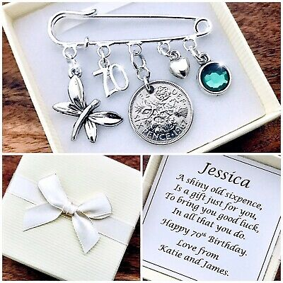 £5.99 • Buy LUCKY SIXPENCE Charm WITH BIRTHSTONE, 70th BIRTHDAY, PERSONALISED Gift Box