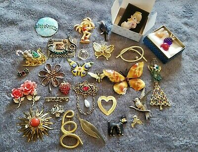 $ CDN7.28 • Buy Lot Of 30 Vintage Costume Jewelry Pins & Brooches