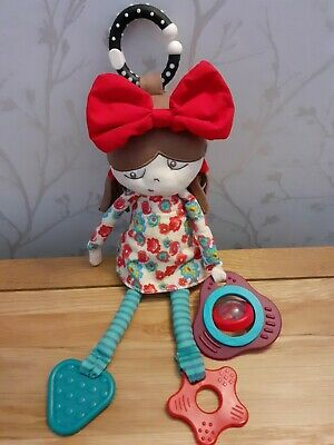 £10.50 • Buy Mamas & Papas Soft Toy Doll Rattle Sensory Comforter Red Bow Approx 12