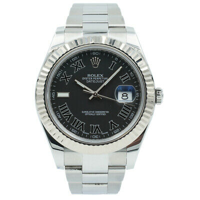 $ CDN11640.18 • Buy Rolex Datejust 116334 Black Roman Dial Fluted Bezel - 41mm