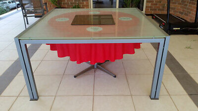 AU255 • Buy Square Glass Top 8 Seater Dining Table, 1.5m X 1.5m