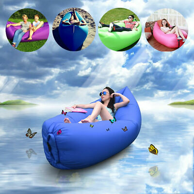 £7.79 • Buy Inflatable Lazy Air Lounger Chair Sleeping Camping Bed Beach Sofa Bag Hiking UK