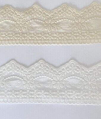 £3.99 • Buy Cotton Embroidered Lace Fabric Trim 1 Yard Width 7.3 Cm