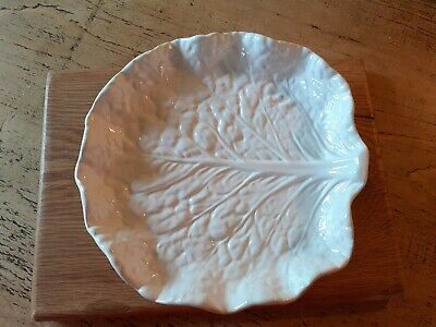 £5 • Buy Vintage White Majolica Cabbage/Leaf Dish Bowl