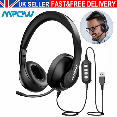 £25.99 • Buy Mpow 3.5mm/USB Headsets Foldable Noise Canceling For Meetings/Call Center W/Mic