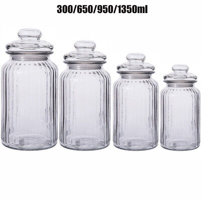 £4.58 • Buy Set Of 3/4 Lid Top Glass Storage Jars Airtight Vintage Kitchen Containers Jar UK