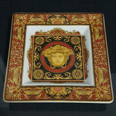 £128.94 • Buy Versace Medusa Rosenthal Square Plate Tray Red Gold Ashtray Authentic