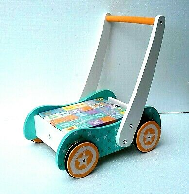 £40 • Buy  Wooden Baby Walker Pastel Colours With Blocks -push Along Trolly- 123 And ABC