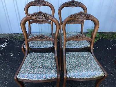 $175 • Buy Set Of 4 Antique Mahogany Carved Back Dining Room Chairs - Very Nice !