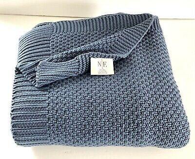 £41.88 • Buy NOBLE EXCELLENCE Cotton Cable Knit Sweater Like Throw Blanket  50 X 70 BLUE EUC