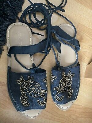 £6.99 • Buy Womens Topshop Tie Ankle Sandals With Embellished Front Size 4