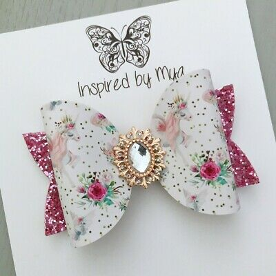AU8.99 • Buy Hair Clip Girls Bow OR Baby Headband Hair Accessories Large Faux Leather Glitter
