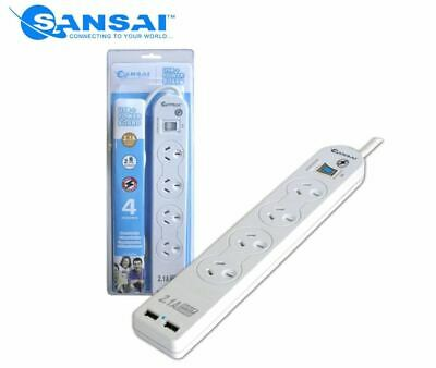 AU24.99 • Buy Sansai 4-Outlet Power Board + 2-Port USB Charging Station W/ Surge Protector NEW