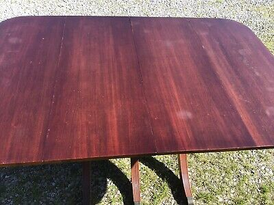 $145 • Buy Vintage 1940's Mahogany Duncan Phyfe Dining Drop Leaf Table W/ 3 Skirted Leaves