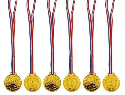 £6.69 • Buy 1-48 Children Gold Plastic Winners Medals Sports Day Party Bag Awards Toy SCHOOL