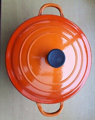 £14.99 • Buy Le Creuset Cast Iron Size  D  Volcanic Orange Casserole Dish With Lid