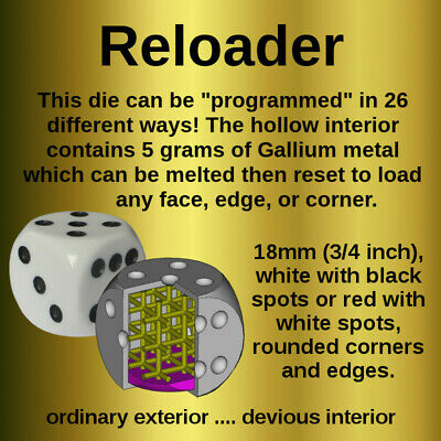 £29.50 • Buy RELOADER : Loaded Dice, Die. Magic Trick Weighted Secret Gallium Collectible