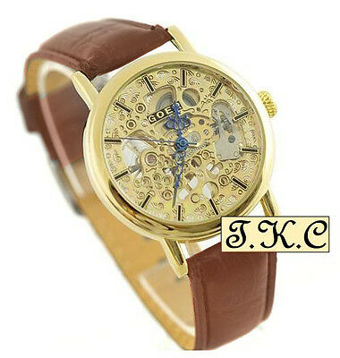 £25.99 • Buy Heirloom Mechanical Windup Skeleton Steampunk Brown Leather Unisex Gold Pl Watch