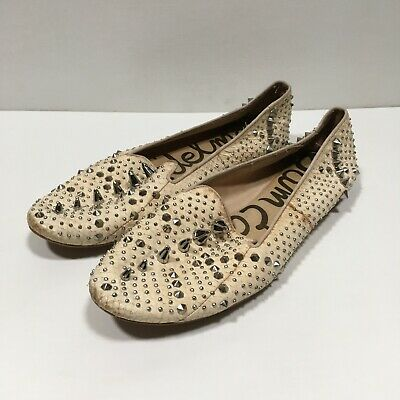 £21.63 • Buy Sam Edelman Addy Spiked Studded Snake Embossed Leather Flats Cream Size 9.5