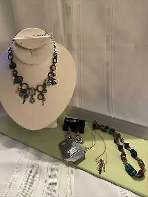 $ CDN9.07 • Buy Jewelry Lot Statement Necklace Is Sterling Silver Chain Necklace Earrings