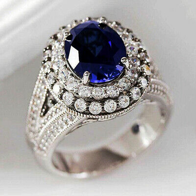 AU3.43 • Buy Gorgeous Blue Sapphire Jewelry 925 Silver Rings Women Engagement Rings Size 6-10