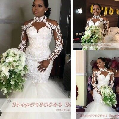 $ CDN194.79 • Buy African Mermaid Wedding Dresses Elegant Halter Neck Sleeve Lace Appliques Beaded