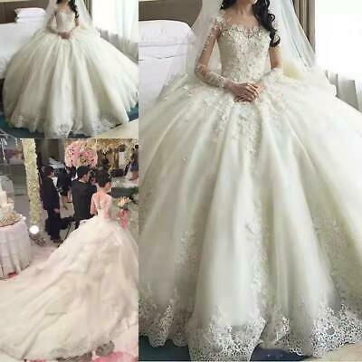 $ CDN245.97 • Buy Crystal Flower Ball Wedding Dresses Long Sleeve Lace Appliques Hot Sale New