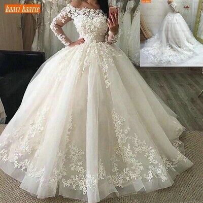 $ CDN181.60 • Buy Long Sleeve Wedding Dresses Lace Appliques Floor Length Plus Size Off-Shoulder