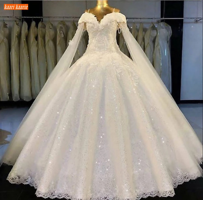 $ CDN203.44 • Buy Sequined Lace Wedding Dresses Long Lace Up Spaghetti Straps Custom Real Photos