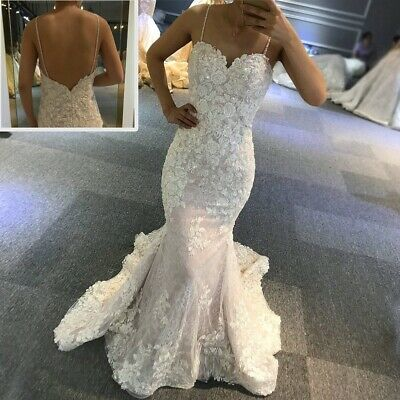 $ CDN172.41 • Buy African Mermaid Wedding Dresses With Straps Sweetheart Appliques Lace Embroidery