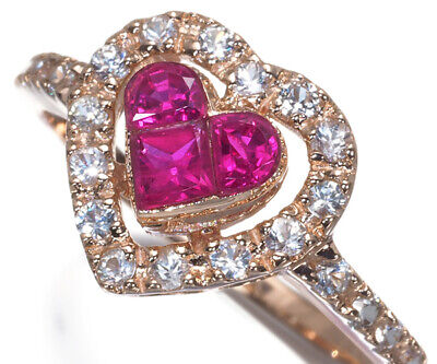 £158.46 • Buy Ruby 0.56ct White Sapphire 0.40ct Mystery-set Heart Ring 14K 585 Rose Gold