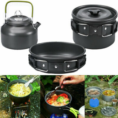 £19.95 • Buy Portable Camping Cookware Kit Outdoor Picnic Hiking Cooking Equipment Pan Kettle