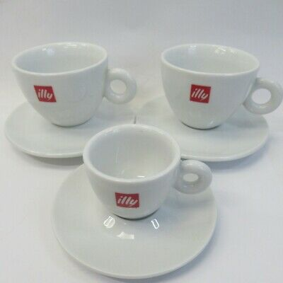 £30 • Buy Illy Cappuccino Cups & Saucers 3pc Set Inc. 1x Espresso Cup, SPAL Portugal VGC
