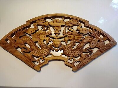 £19.99 • Buy Chinese Hand Carved Dragon Wood Plaque