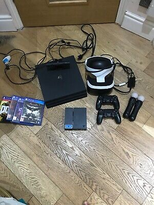 AU737.94 • Buy USED Ps4 Pro WITH VR HEADSET 1tb Black With Controllers Bundle With Games,