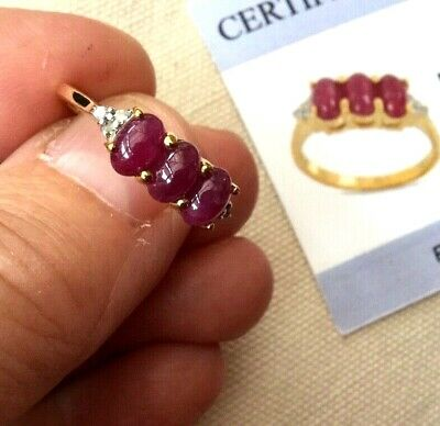 £199.95 • Buy 9K Gold Ruby (Cabouchon Cut) & Diamond Ring - Size N - Certified - Rare