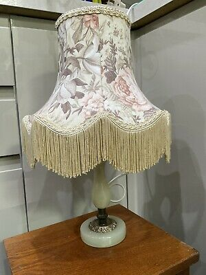 £20 • Buy Vintage , Retro Table Lamp , Onyx & Brass Base , Floral Shade