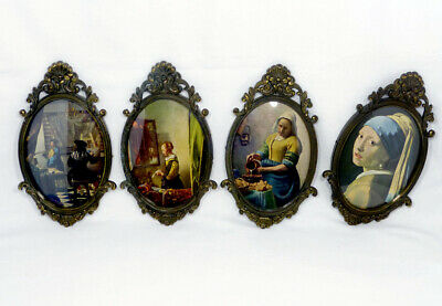£14.99 • Buy 4 Vintage Small Ornate Oval Bronze Concave Glass  Picture Frames With Pictures