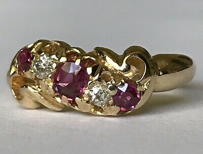 £380 • Buy Vintage 18Ct Gold Ring Set Size Ruby And Diamond