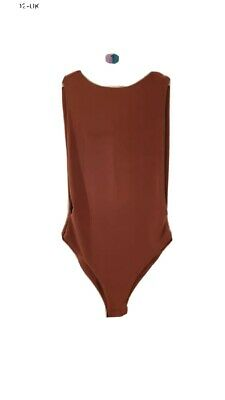 £4 • Buy Womans Brown Isawitfirst Sleeveless Body Suit Size 8 Bnwt Cut Out On Back