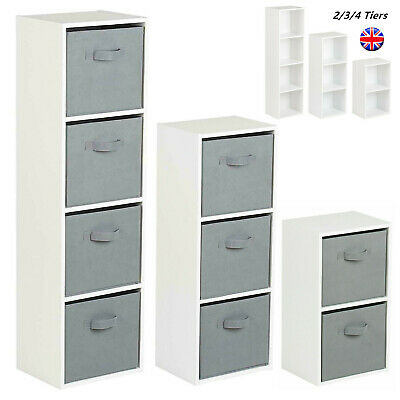 £20.99 • Buy Cube 2 3 4 Tier Wooden Bookcase Shelving Display Storage Unit With Fabric Drawer