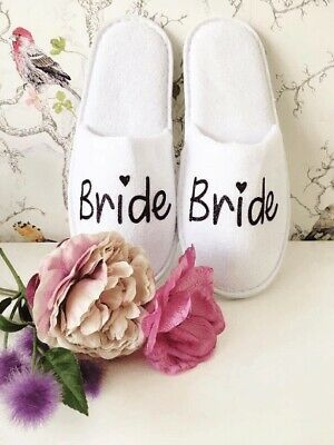 £2.49 • Buy White Wedding Slippers - Personalised Print Novelty Bridal Party Spa Closed Toe
