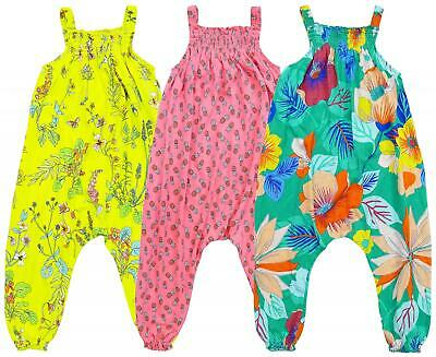 £8.99 • Buy Girls Jumpsuit Ex Next Floral Dungaree Cotton Overall Kids 3 Months To 6 Years