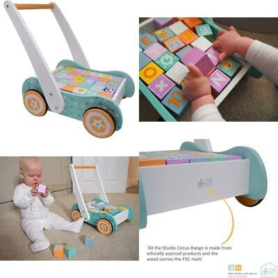 £58.99 • Buy Wooden Baby Walker With Blocks - Wooden Push Along Trolley - 123 And Abc Blocks