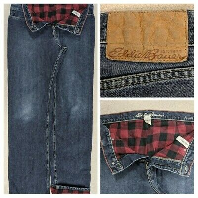 $22 • Buy Eddie Bauer Flannel Lined Relaxed Fit Jeans Mens Actual Size 34x34 Buffalo Plaid